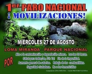 Paro Nacional 27 de Agosto, Movilización por Loma Miranda y otras Demandas del Pueblo